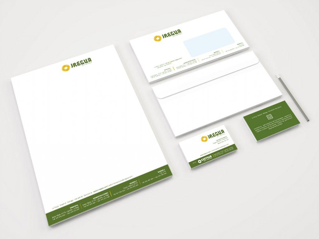 Diseño de papelería básica para Iregua Grupo Empresarial.