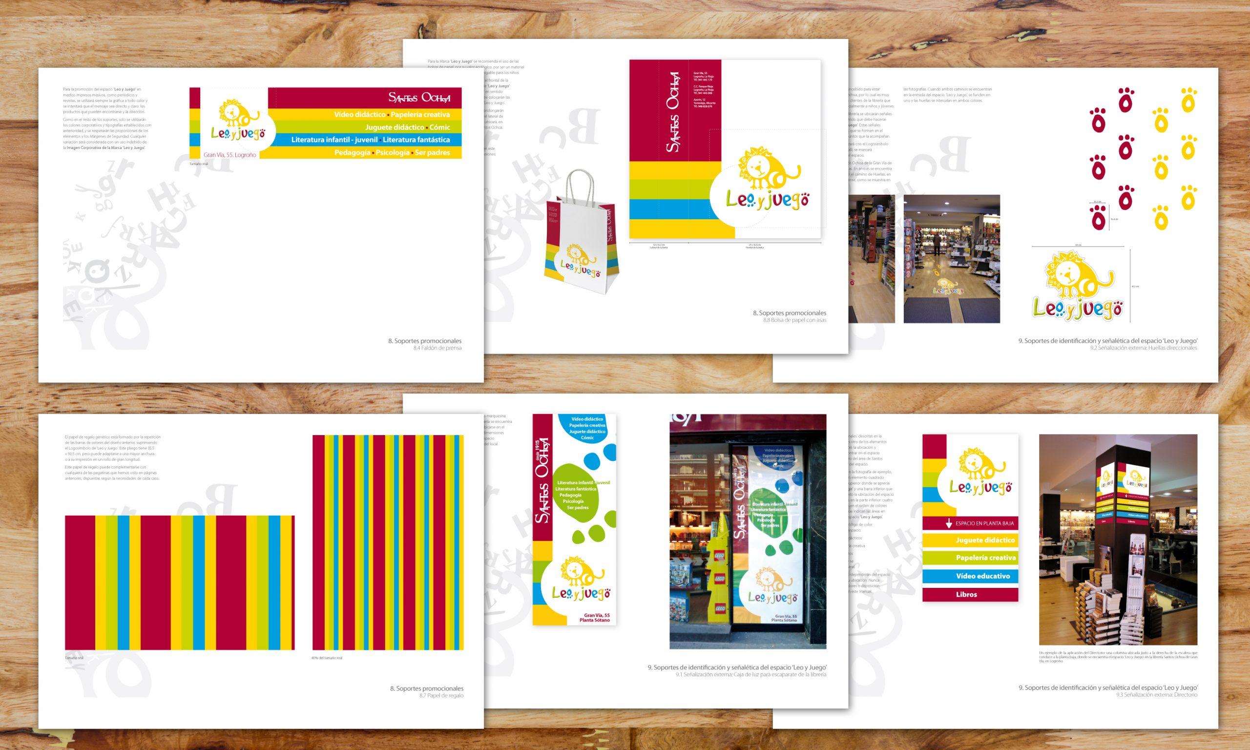 Diseño de faldón de prensa, bolsa de papel, señales direccionales de suelo, papel de regalo, vinilo exterior y directorio interior.