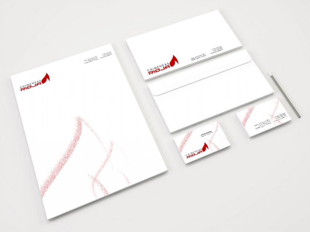 Diseño de  logotipo y papelería básica para Chimeneas Rioja.