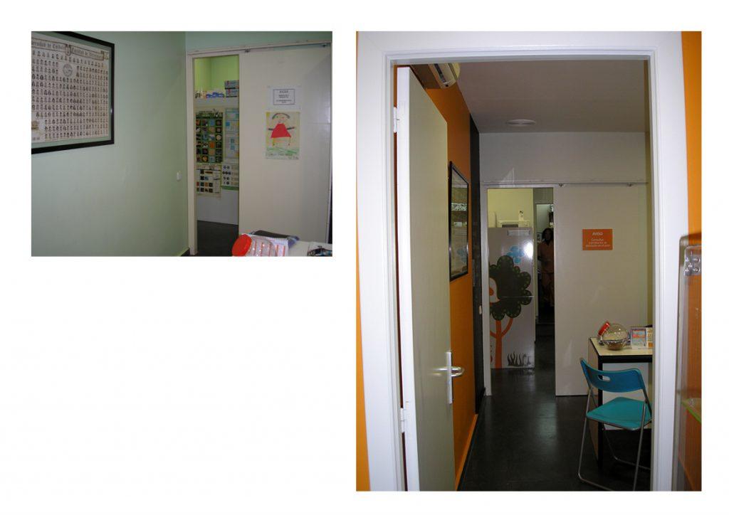 Sala de consulta Clínica Veterinaria El León Dormido. Antes y después.