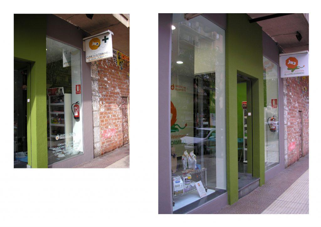 Cartel luminoso en fachada. Antes y después.