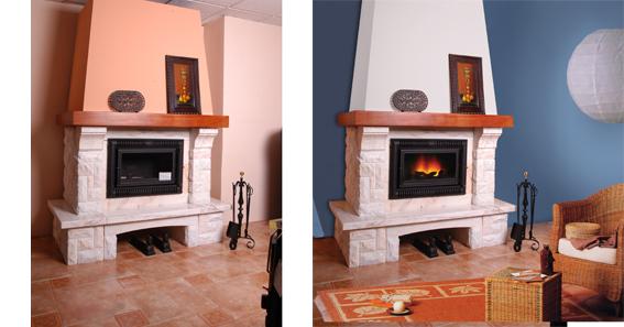 Las fotos de las chimeneas se retocaron digitalmente para dar la crear la ambientación real de una vivenda.