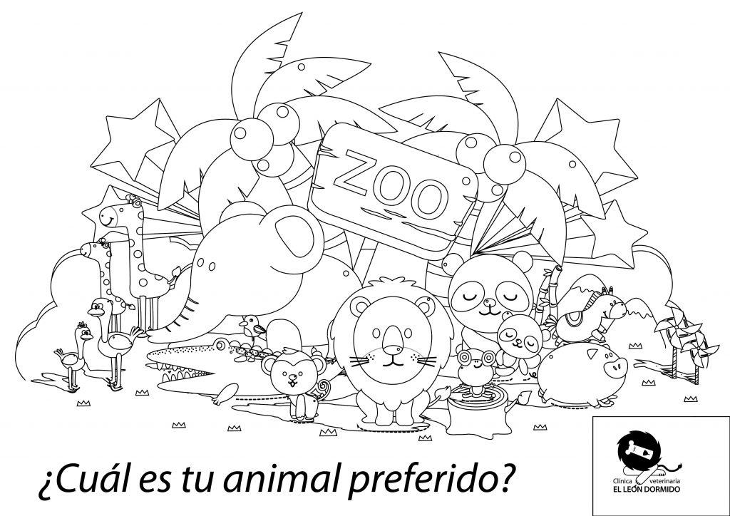 Láminas para colorear, para entretener a los niños que acompañan a sus mascotas a consulta. Clínica Veterinaria El León Dormido.
