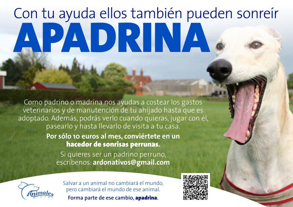 """Diseño y redacción de textos de cartel """"Apadrina"""" para la asociación Animales Rioja. Logroño, La Rioja. 2016."""