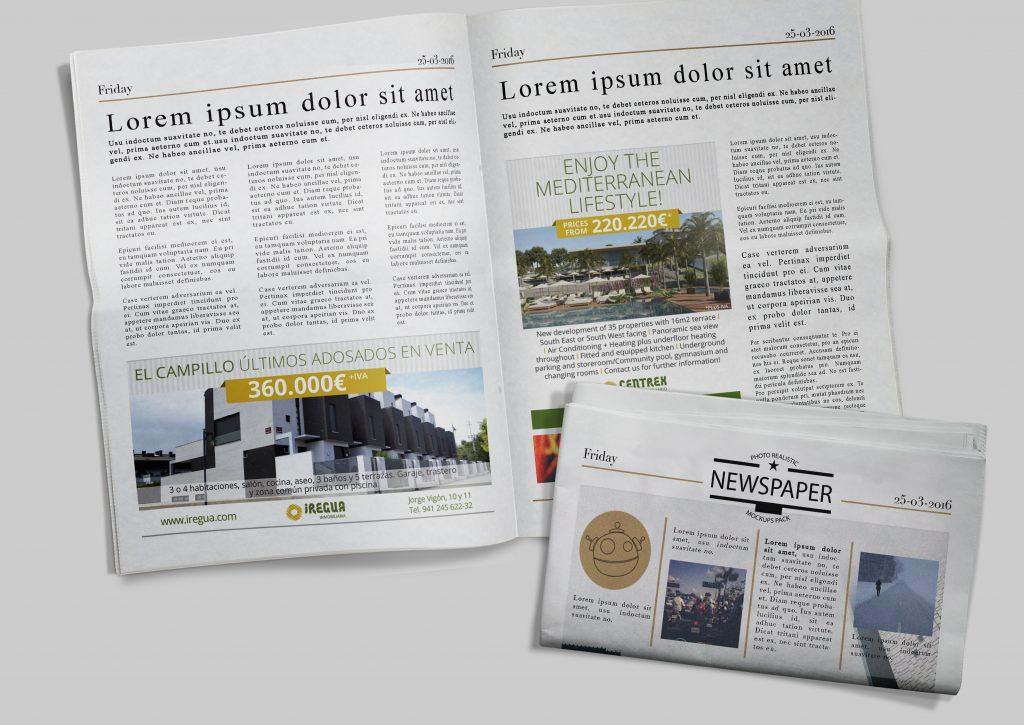 Diseño de anuncios de prensa para Logroño y Málaga. Grupo Empresarial Iregua.