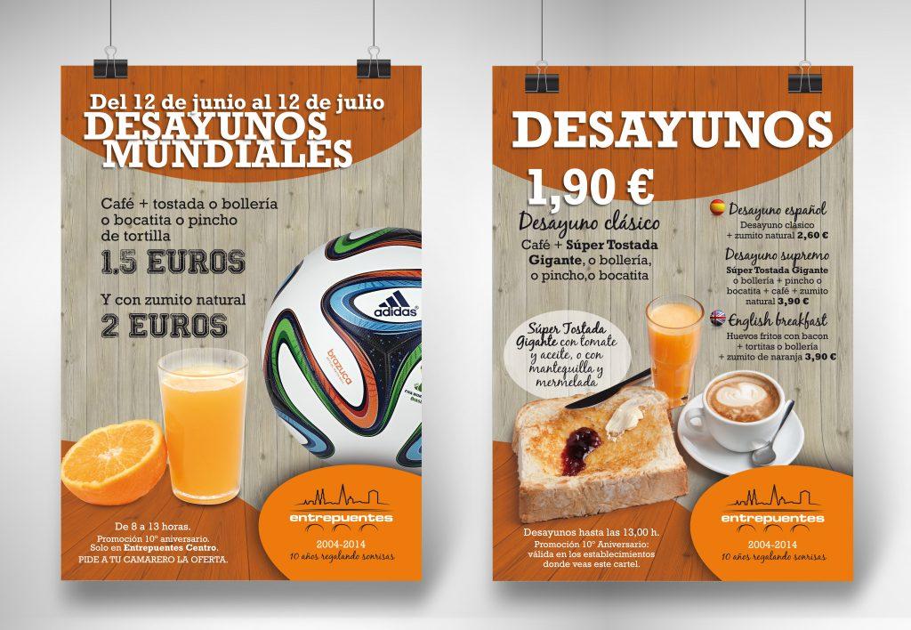 Diseño de carteles promocionales para el interior de los Restaurantes Entrepuentes. Logroño, La Rioja. 2014.