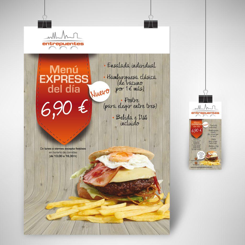 Diseño de flyer y adaptación a cartel promocional para el interior de los Restaurantes Entrepuentes. Logroño, La Rioja. 2014.