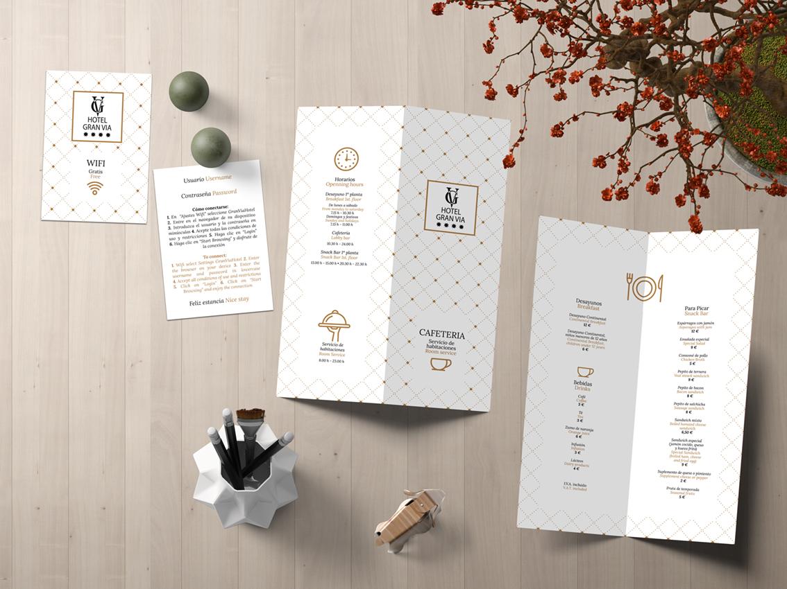 Diseño de tarjeta wifi y menú de servicio de habitaciones para el Hotel Gran Vía.