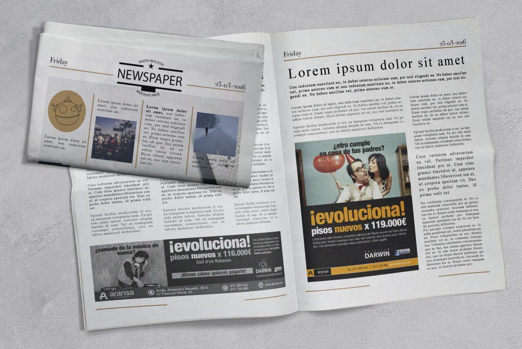 Anuncios de prensa para la promoción del Edificio Darwin.